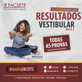 RESULTADO FINAL DO PROCESSO DE VESTIBULAR 2019.1