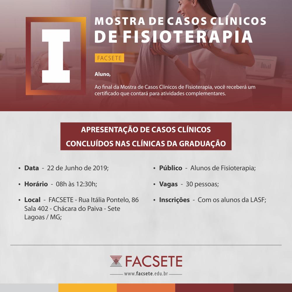 I MOSTRA DE CASOS CLÍNICOS DE FISIOTERAPIA