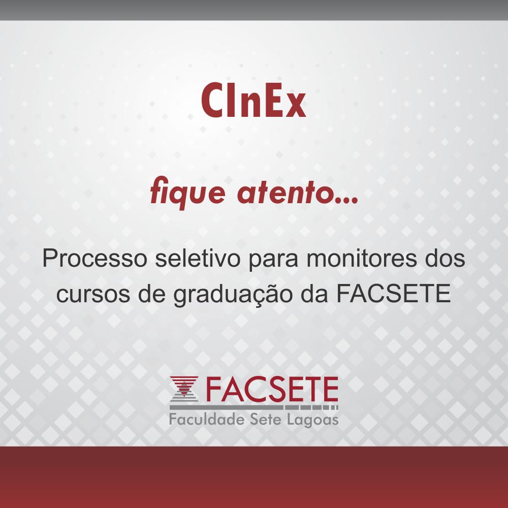 CInEx abre as inscrições para a seleção de monitoria 2019.2